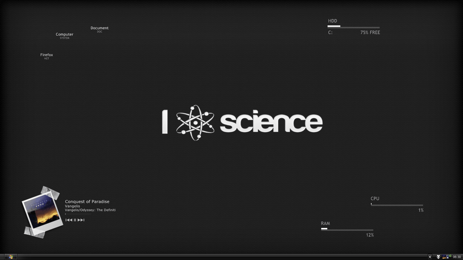 VS : RevoBlack Rainmeter : Enigma skin et  Lines 2.0 CdArt Display : Photograph Wall : I love science