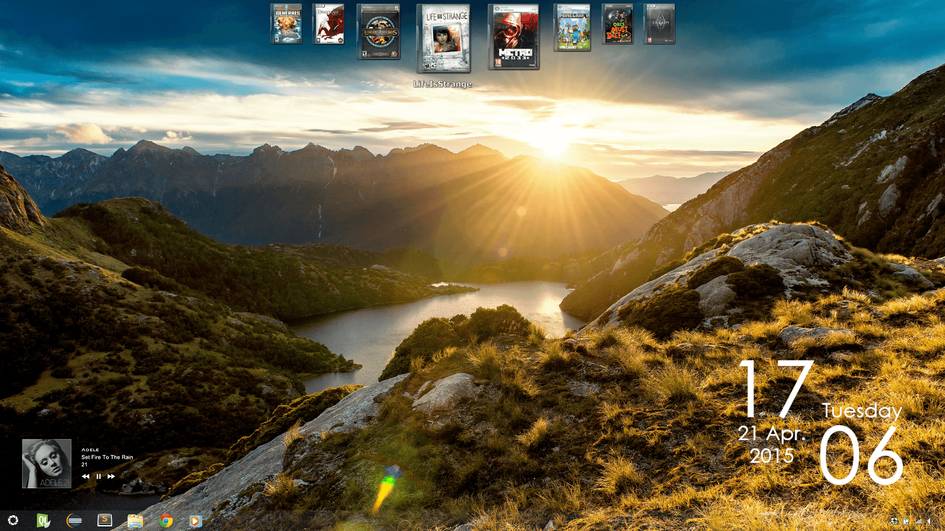 VS : Raving Rainmeter :  Tribute  Start Orb : Aperture Science Wall : Fiorland Mountain Sunrise