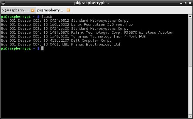Raspberry-pi-lsusb