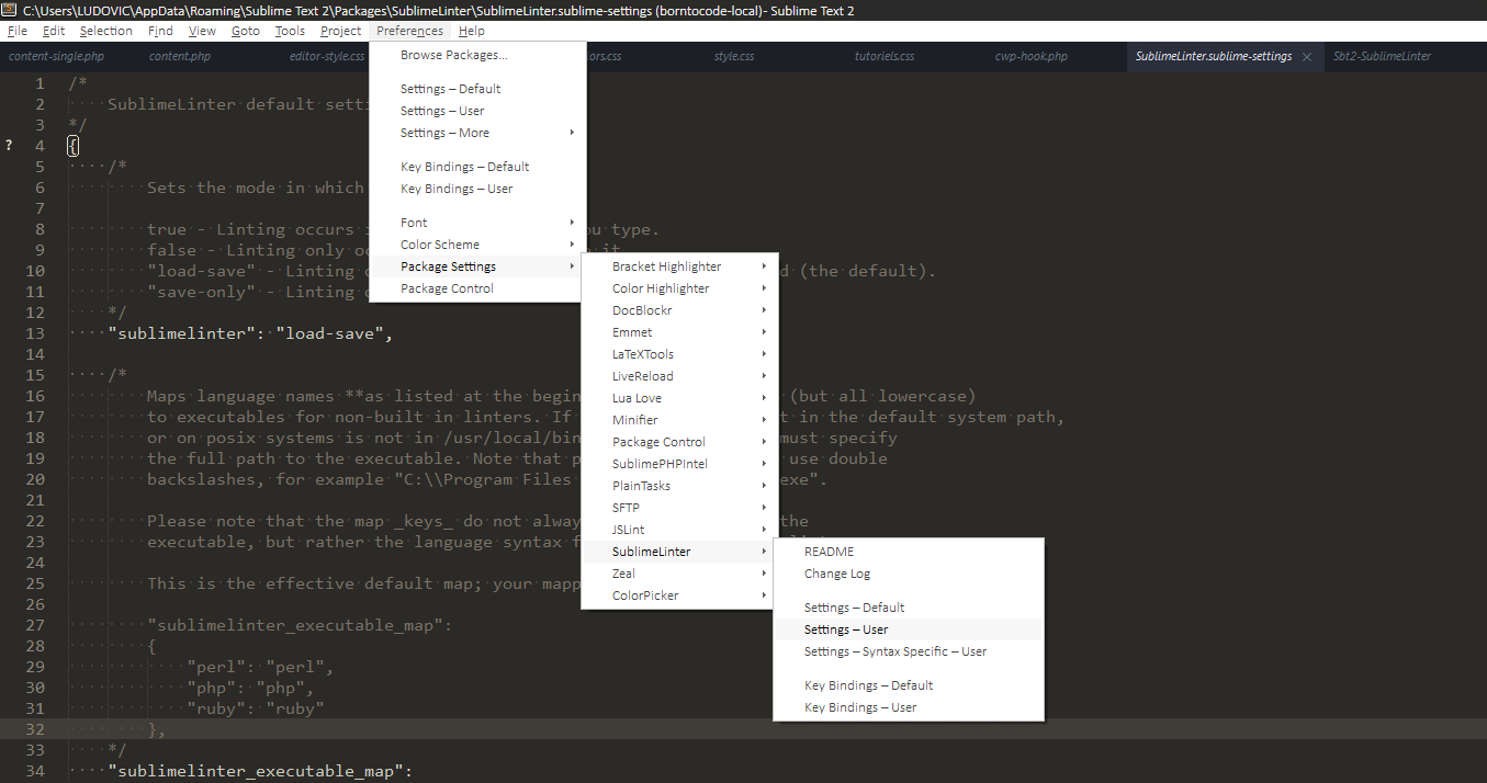 sublime-text-sublime-linter-settings