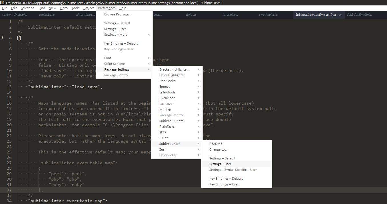 sublime-text-sublime-linter-settings