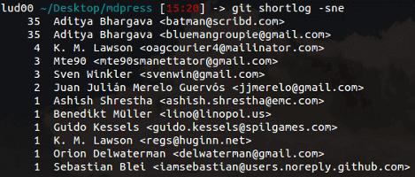 Nombre de commits par utilisateur sur le projet mdpress