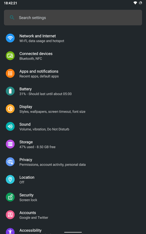 android 10 nexus 7 settings