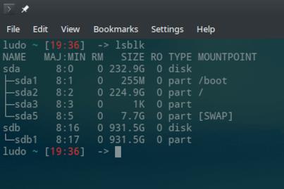 Linux lsblk unmounted